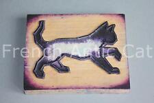 Ancien grand tampon scolaire bois plastique animal domestique CHAT 10*8 cm AA160