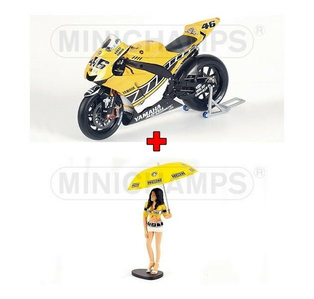 1 12 Minichamps Yamaha YZR M1 + Figure Grid Girl Valentino Rossi USA 2005 New