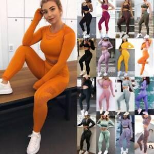 Women 2Pcs Yoga Suits Seamless Yoga Pants High Waist Leggings Tops Trousers Gym