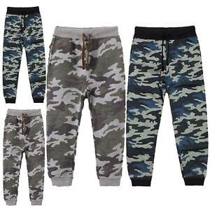Garcons-Enfants-Camouflage-Jogging-Unisexe-Taille-Elastique-Pantalon-De-Survetement-Armee-Pantalon