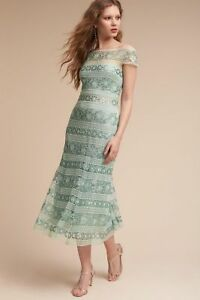 Details About Nwt Tadashi Shoji Anneliese Tea Length Dress Frosted Jade Size 4