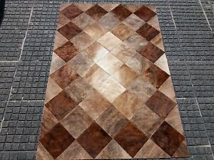 NEW Cowhide Rug Patchwork Cowskin Cow Hide Leather Carpet Brown.