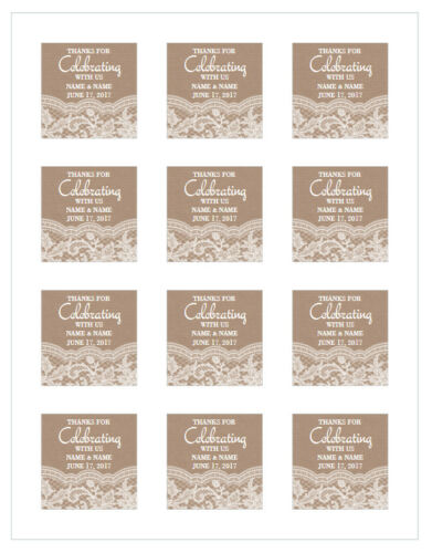 """12 PERSONALIZED WEDDING THANKS FOR CELEBRATING WITH US STICKER White 2/"""" x 2/"""""""
