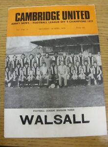 01041978 Cambridge United v Walsall  Creased - Birmingham, United Kingdom - Returns accepted within 30 days after the item is delivered, if goods not as described. Buyer assumes responibilty for return proof of postage and costs. Most purchases from business sellers are protected by the Consumer Contr - Birmingham, United Kingdom