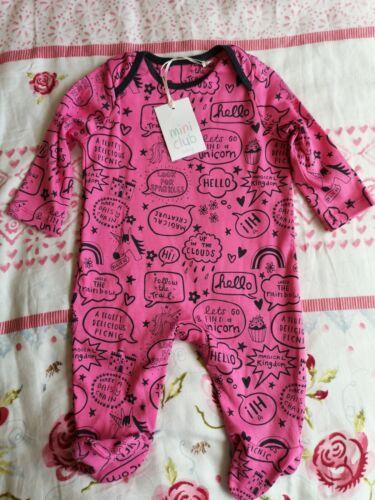 Bebé Niñas Pijama 3-6 meses Rosa Impreso Super Suave Mini Club BNWT