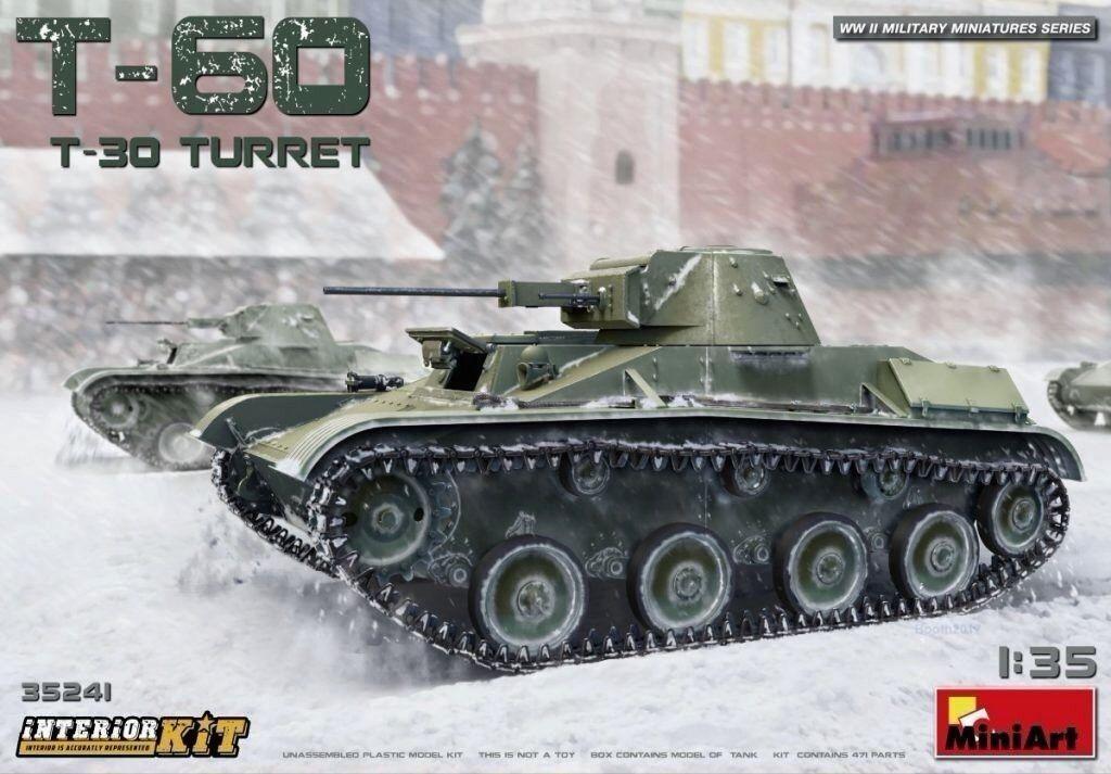 Miniart 1 35 T-60 w  T-30 Turret Soviet Tank With Interior Model Kit