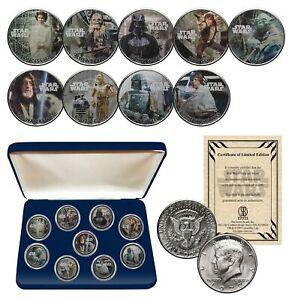 STAR-WARS-Genuine-1977-Kennedy-Half-Dollar-9-Coin-Set-w-BOX-OFFICIALLY-LICENSED