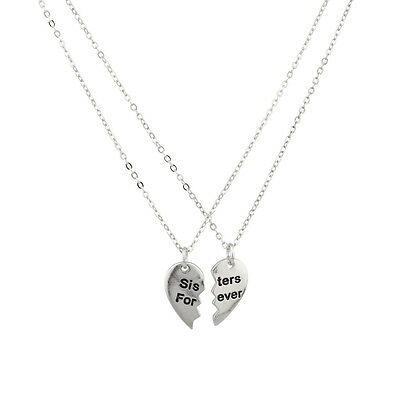 Sisters Forever Broken Heart Big Sis Lil Sis BFF Best Friends Necklace Set.