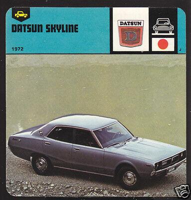 1972 DATSUN SKYLINE Car Picture Photo Fact CARD NISSAN