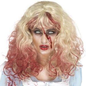 Disfraz-de-Halloween-Zombie-sangriento-diadema-peluca-rubio-rojo-NUEVO-SMIFFYS