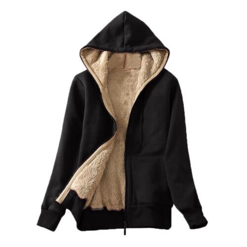 Women/'s Casual Winter Sherpa Lined Zip Up Hooded Sweatshirt Cotton Jacket Coat