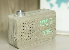 Gingko Ash Wood FM Radio Click Clock Alarm Sound Activated Green LED Display