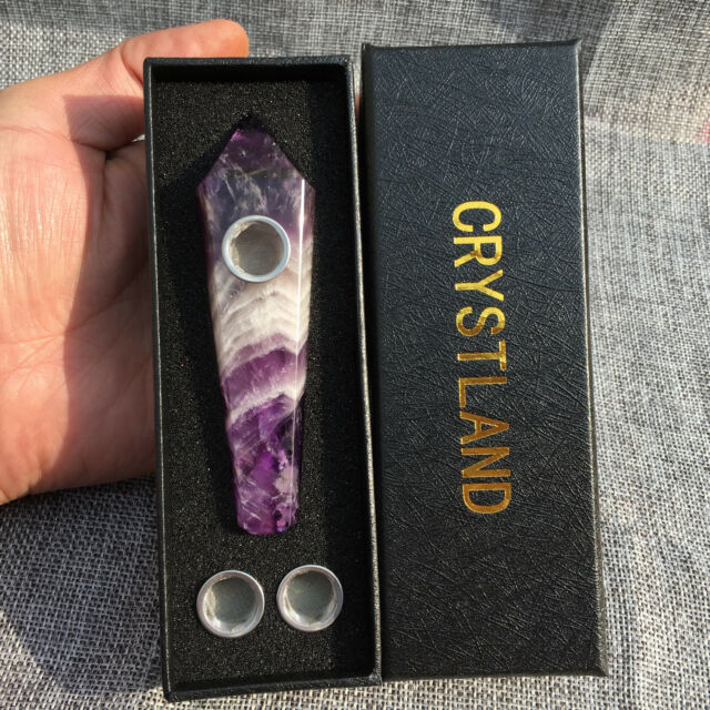Natural Dreamy amethyst Pipe Quartz Crystal Point w//Carb Hole wand 1pc+box