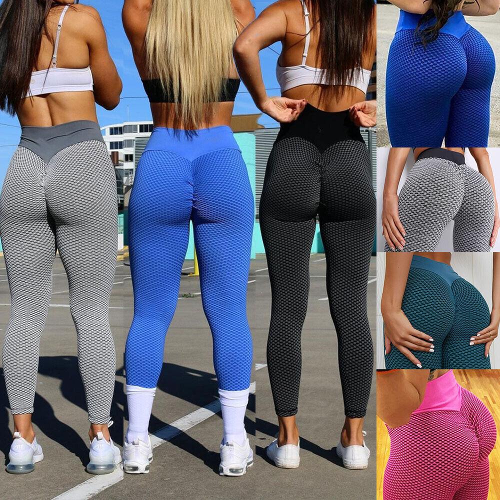 Womens Yoga Gym Anti-Cellulite Leggings Fitness Textured Butt Lift Elastic Pants
