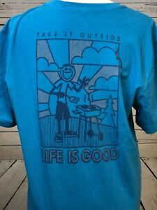Life-is-Good-LIG-Medium-Take-It-Outside-Men-039-s-Short-Sleeve-T-Shirt-T-Shirt-Blue