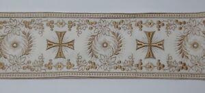Orphrey-Vintage-Croce-Beige-amp-Spento-Bianco-Bendaggio-per-Casula-11-4cm-Wide