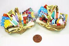 Nähkorb Stoff Schere Nähgarn für Nähmaschine 1:12  Zubehör Puppenstube Diorama