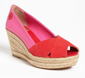 c8a4dceb9b3 Details about NEW TORY BURCH Criss Cross Filipa Wedge Espadrille Pump Size  US 10 Red/Pink Shoe