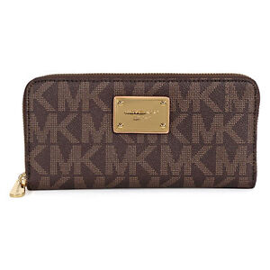 ce14ae5f428c Michael Kors Jet Set Zip Around Continental Brown PVC Wallet With MK Logo