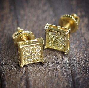 round gold back screw diamond stud yellow o earrings shaped square