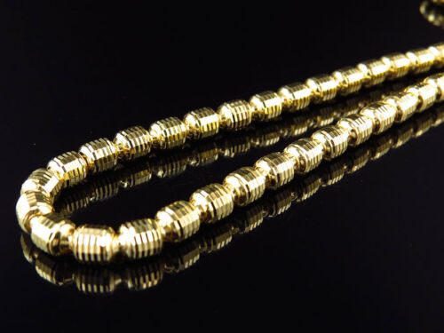 """Yellow Gold Finished .925 5MM Wide Diamond Cut Barrel Chain Necklace 24/""""-36/"""""""