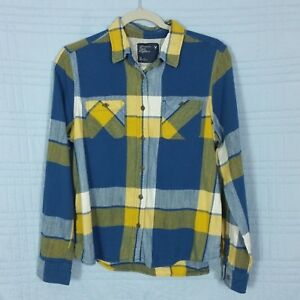 American-Eagle-Outfitters-Womens-Size-14-Blue-Plaid-Long-Sleeve-Flannel-Top
