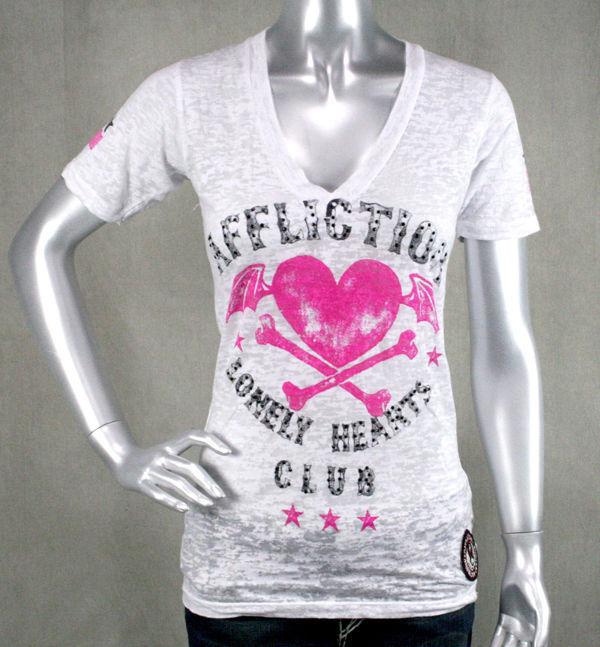 AFFLICTION damen T-shirt LONELY HEARTS Club burnout Weiß Crystals