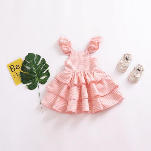 Kinder Blumenmädchen Kariert Rüsche Swing Kleider Hochzeit Partykleid Festkleid