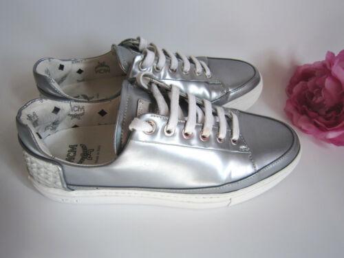 MCM Silver Leather Diseñador Zapatillas Sneakers. tamaño: 6UK/39EU.