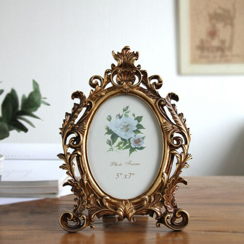 Retro Vintage Oval Resin Glass Photo Frames European Style Home Decor Standing