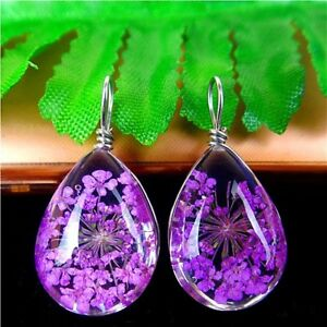 2Pcs-Nice-Purple-Crystal-Dried-Flower-Teardrop-Pendant-Bead-18-13-10mm-AE2841