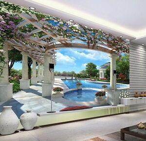 3d wallpaper bedroom living mural roll swimming pool for Pool in steinoptik