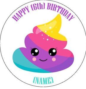 Image Is Loading Unicorn Poo Poop Emoji Personalised Stickers Birthday Party