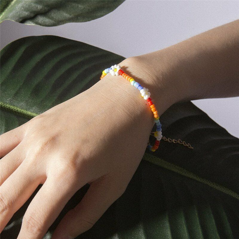 Boho Flower Daisy Coloful Seed Beads Bracelet Bangle Chain Fashion Lady Jewelry