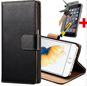 Black-Style-Cover-Slim-Leather-Case-For-iPhone-5-5S-Free-Tempered-Glass