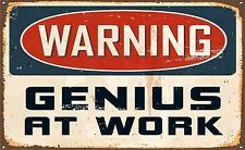 Genius at work warning funny door Sign Sticker Decal Graphic Vinyl Label