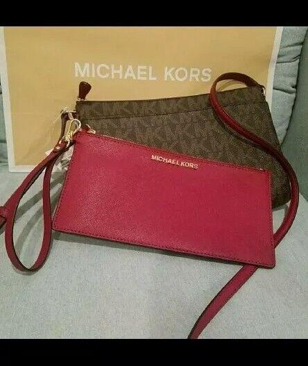 75ab03818e4551 Michael Kors PVC JST LG Pocket Messenger Crossbody Bag in Brown/cherry for  sale online | eBay