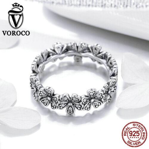 Voroco Navidad 925 Sterling Silver Anillo de Dedo Daisy a mujeres Pulsera Joyería