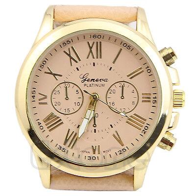 Fashion Women Geneva Roman Numerals Analog Faux Leather Quartz Wrist Watch Gift