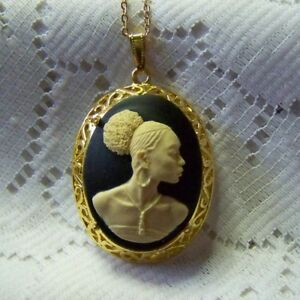 African lady gold cameo necklace new afrikan woman pendant afro image is loading african lady gold cameo necklace new afrikan woman aloadofball Gallery