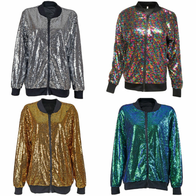 4768979f96 Biker Glitter Sequin Bomber Jacket Coat Top Festival Clubbing Party Club  women