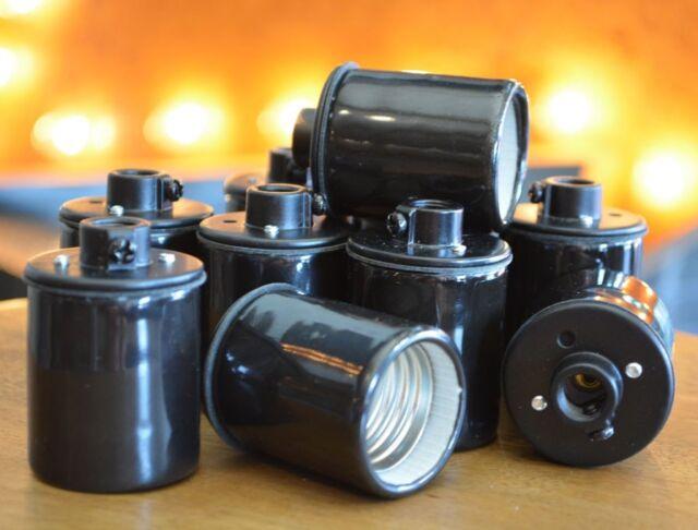 Black Porcelain Light Socket - 10-Pack - Keyless - Hanging Light - Pendant Light