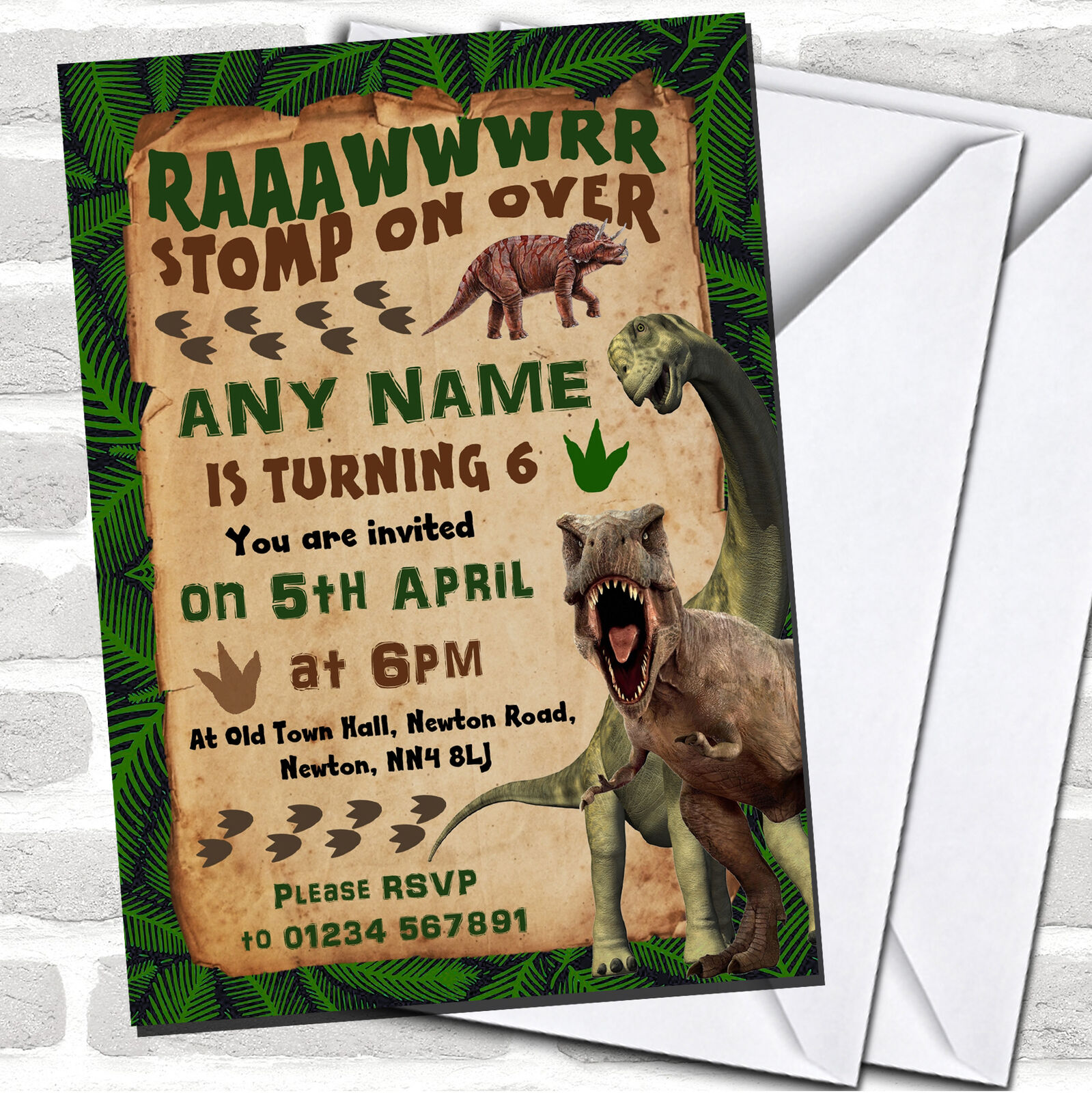 Scary Prehistoric Dinosaur Birthday Childrens Party Invitations F515dd