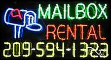 """NEW """"MAILBOX RENTAL"""" w/YOUR PHONE NUMBER 37x20 NEON SIGN W/CUSTOM OPTIONS 15080"""