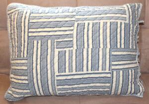 BNIP CHAPS Home Montauk Studio Euro Sham 26x26 Ivory Blue Striped for Pillow