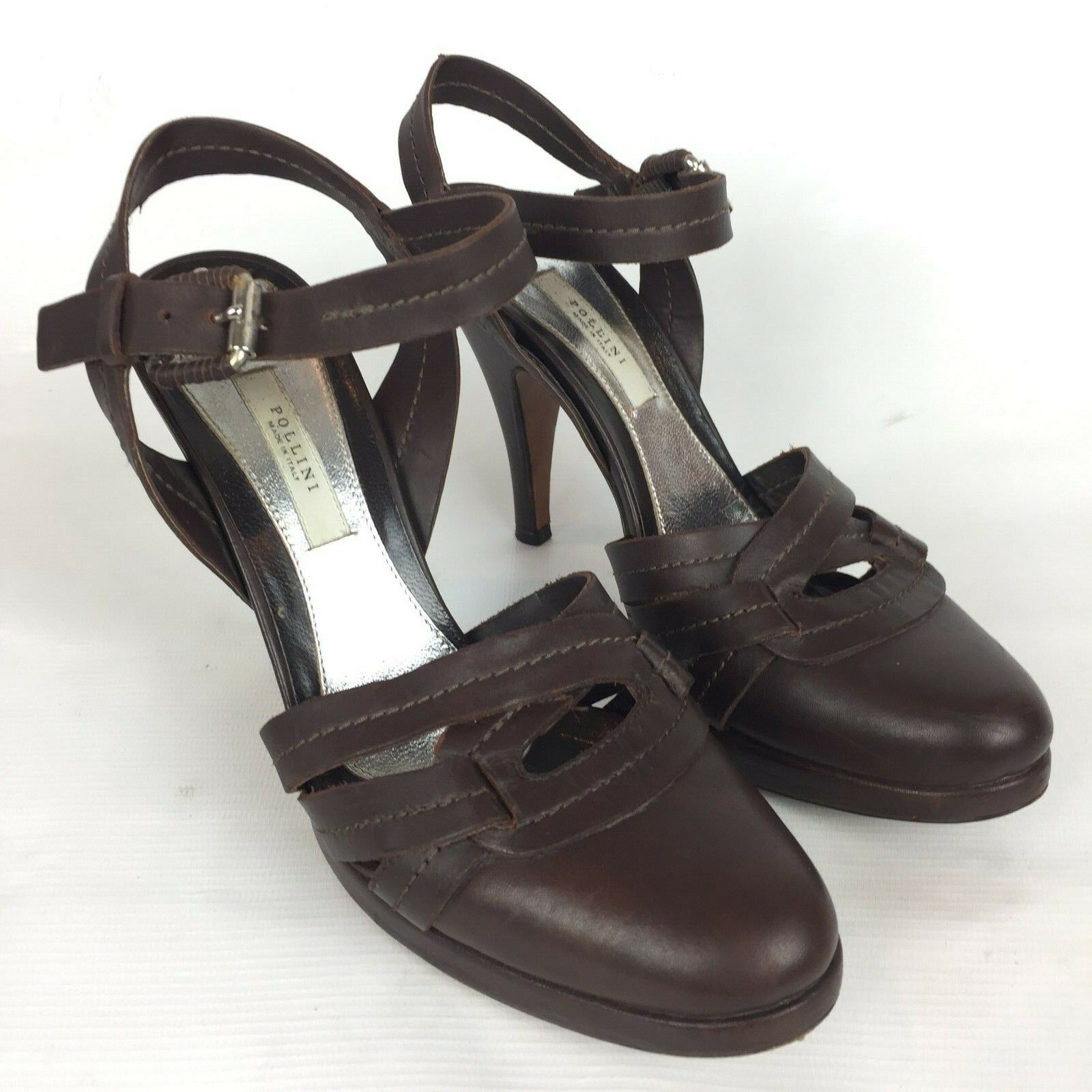POLLINI  Size 7 37 Brown Leather Round Toe Heels Pumps  Vero Cuoio