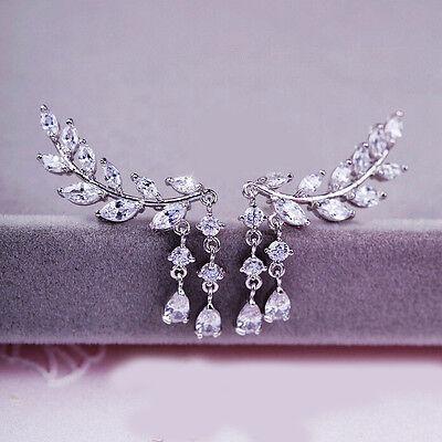 Classic Fashion Gold Silver Crystal Zircon Leaves Tassel Stud Earrings Jewelry