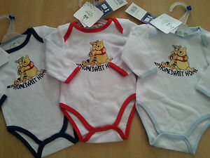 Baby-bodysuit-Winnie-the-Pooh-one-piece-long-sleeve-with-trim-blue-navy-red