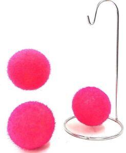 Pink-Fuzz-Balls-Orbs-Artificial-For-Crafting-Vase-Filler-Basket-etc-Set-of-3
