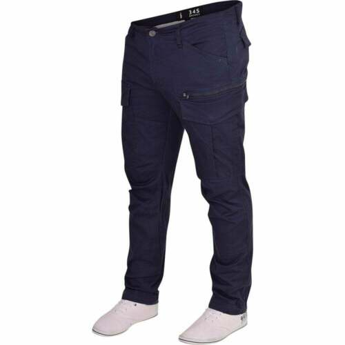 Mens Spindle 3D Tapered Cargo Trousers Multi Pocket Twisted Leg Chino Jeans